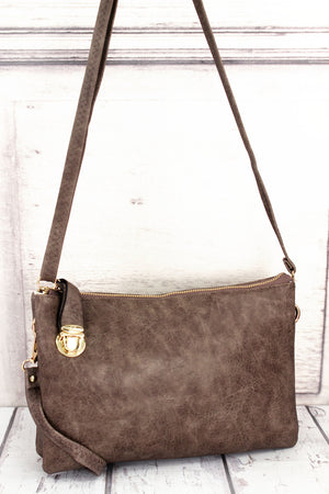 Taupe Gray Faux Leather Buckle Lock Crossbody Clutch