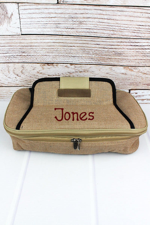 Jute Insulated Double Casserole Tote