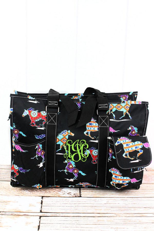 Santa Fe Stallion with Black Trim Large Organizer Tote