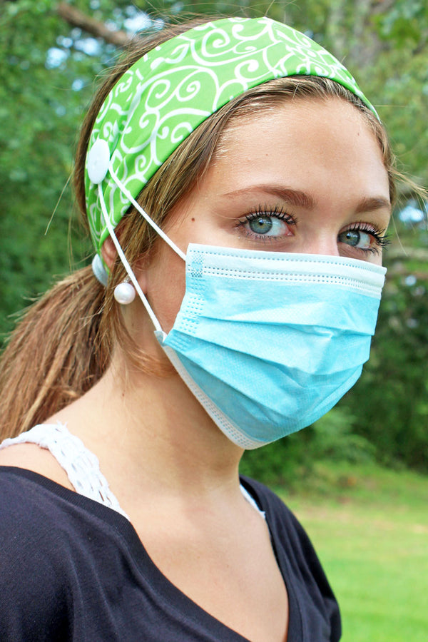Green Trellis Wide Button Headband Face Mask Holder