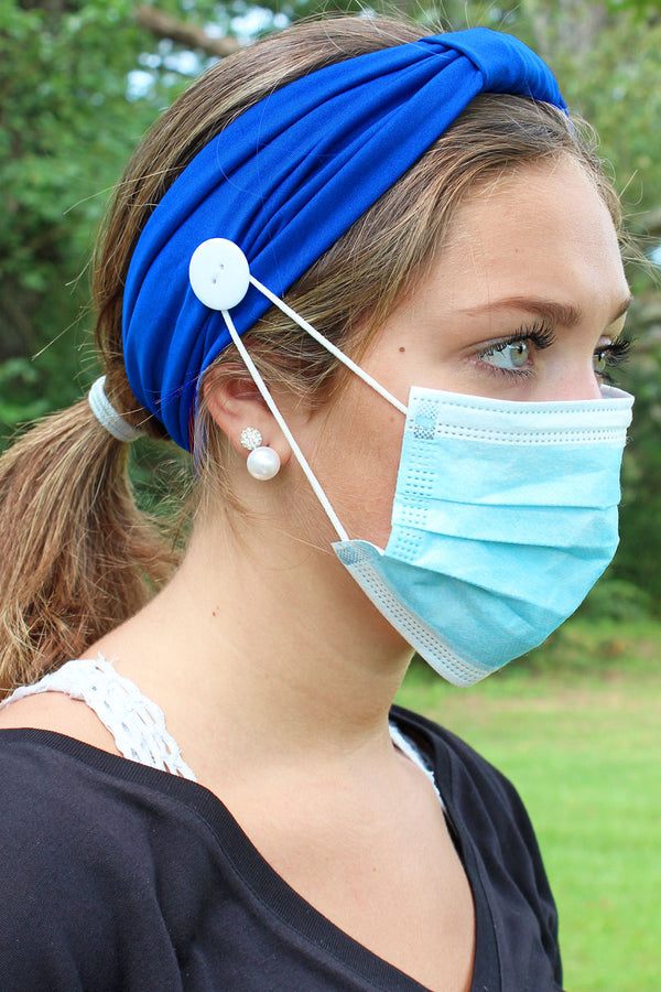 Blue Wide Button Headband Face Mask Holder