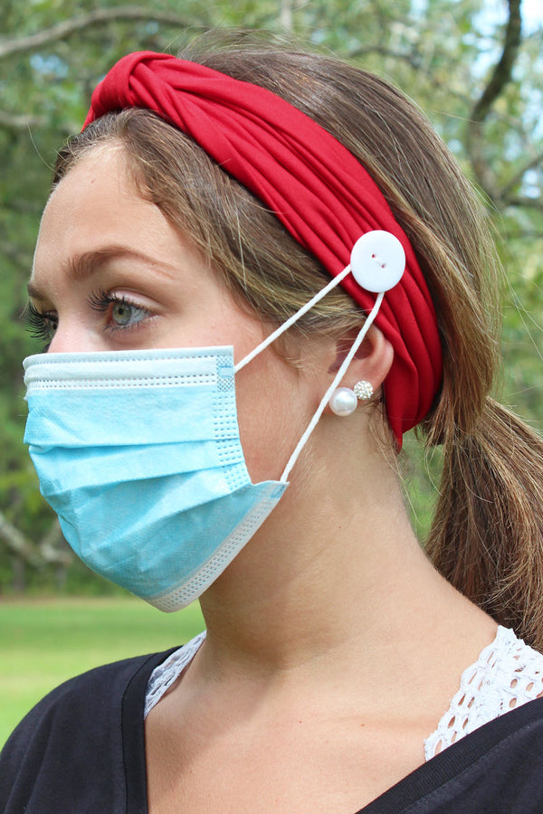 Red Wide Button Headband Face Mask Holder