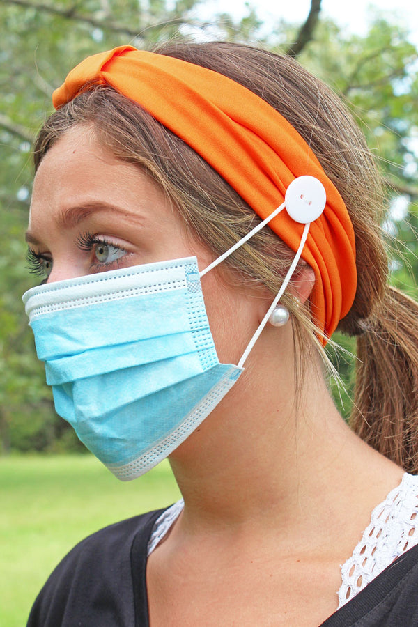Orange Wide Button Headband Face Mask Holder
