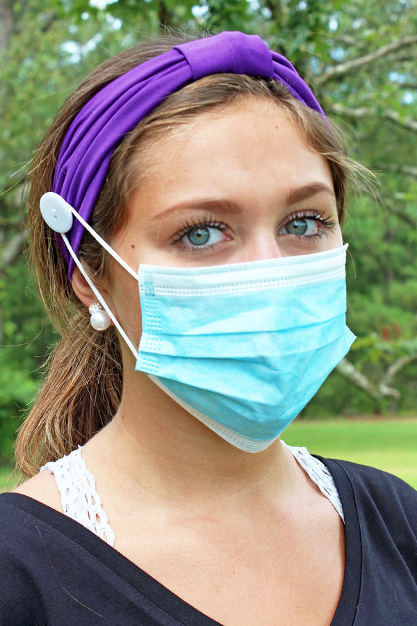 Purple Wide Button Headband Face Mask Holder