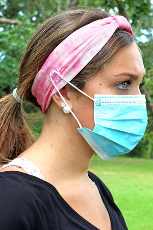 Pink Tie-Dye Wide Button Headband Face Mask Holder