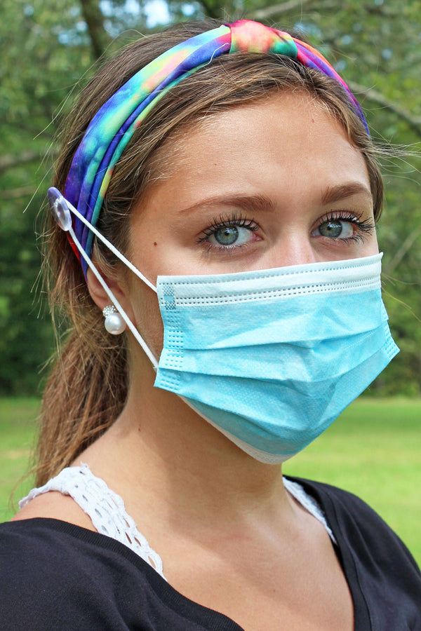 Feeling Groovy Rainbow Wide Button Headband Face Mask Holder