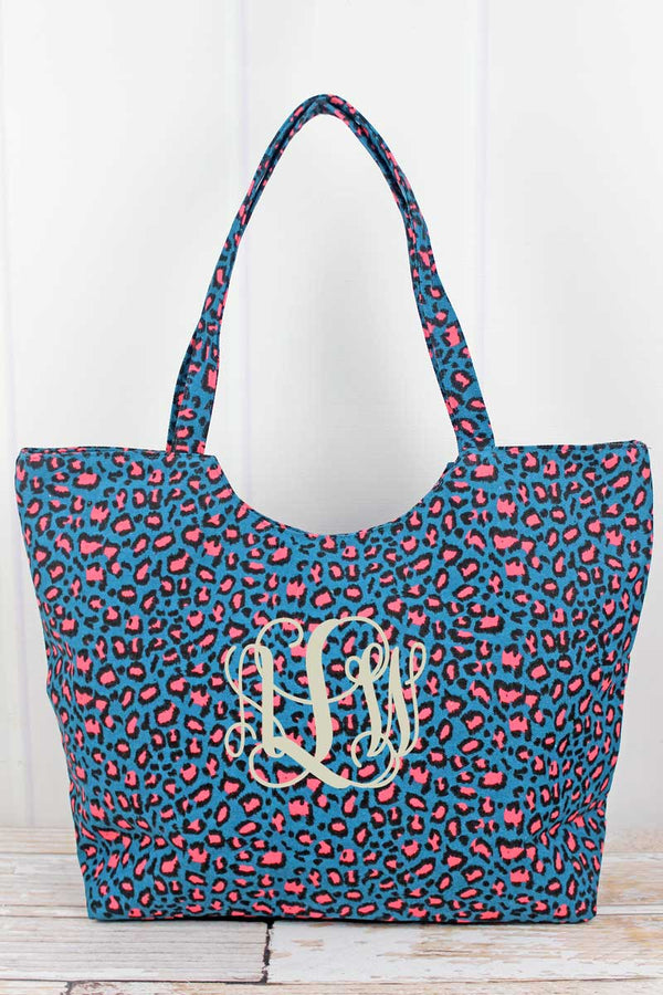 Teal Leopard Shoulder Tote