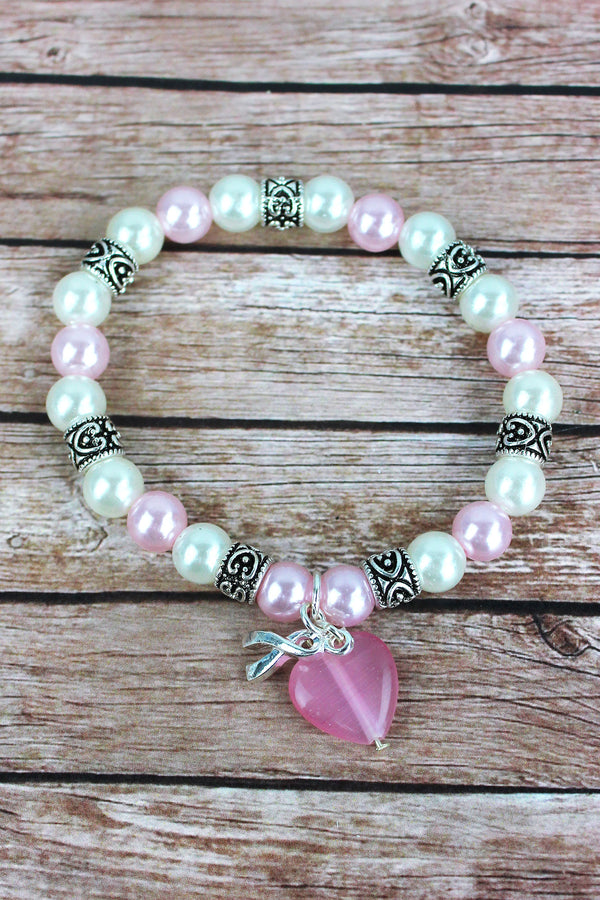 Silvertone Ribbon and Pink Heart Charm Beaded Bracelet