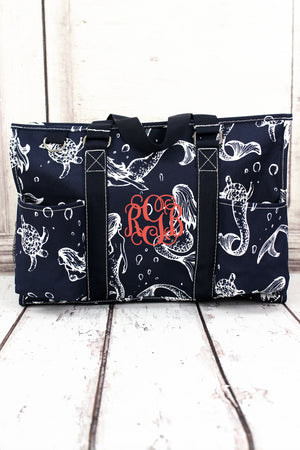 Magical Mermaid Utility Tote with Navy Trim