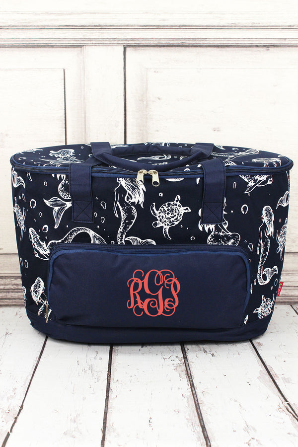 Magical Mermaid and Navy Cooler Tote with Lid