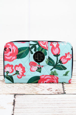 Painted Posies Quilted Organizer Clutch Wallet