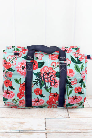 Painted Posies with Navy Trim Large Organizer Tote