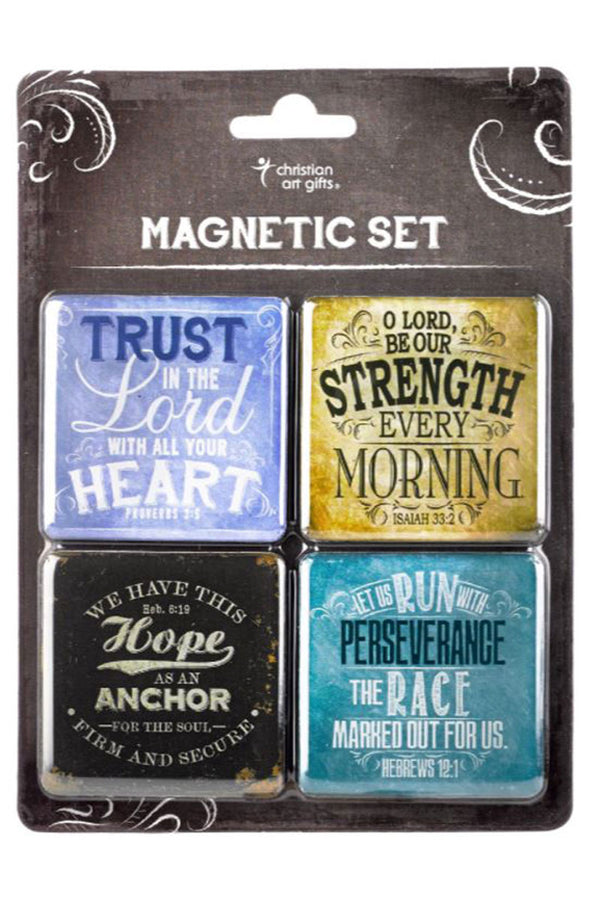 4 Piece 'Trust Strength Hope Perseverance' Square Magnet Set
