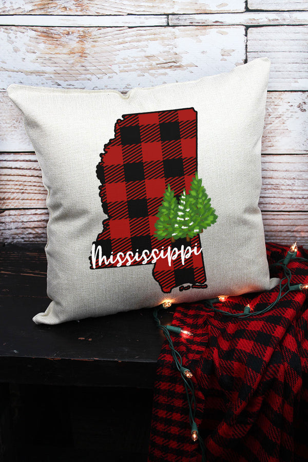 Plaid Mississippi Decorative Pillow Cover