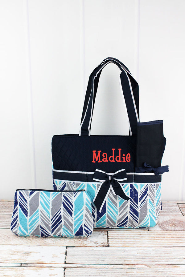 Seaside Stripes Quilted Diaper Bag with Navy Trim