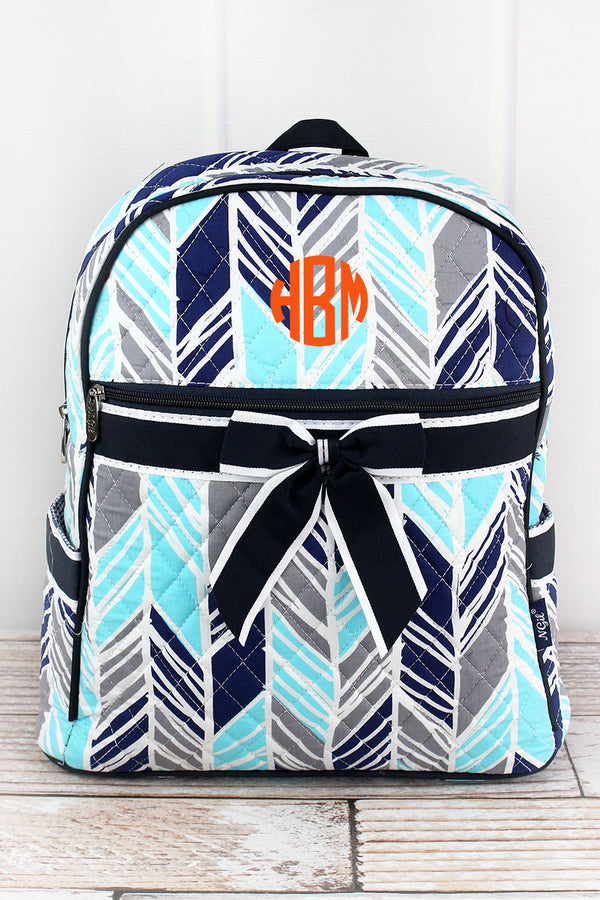 Seaside Stripes Quilted Backpack with Navy Trim