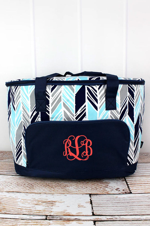 Seaside Stripes and Navy Cooler Tote with Lid