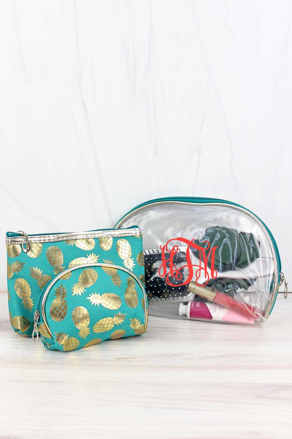 Golden Pineapple Turquoise and Clear 3 Piece Pouch Set