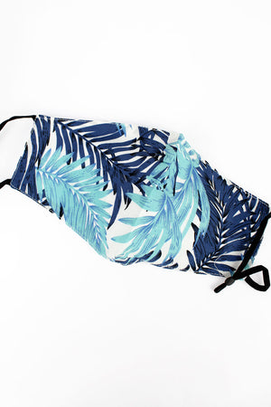 Blue Tropical Escape Two-Layer Fashion Face Mask with Filter Pocket