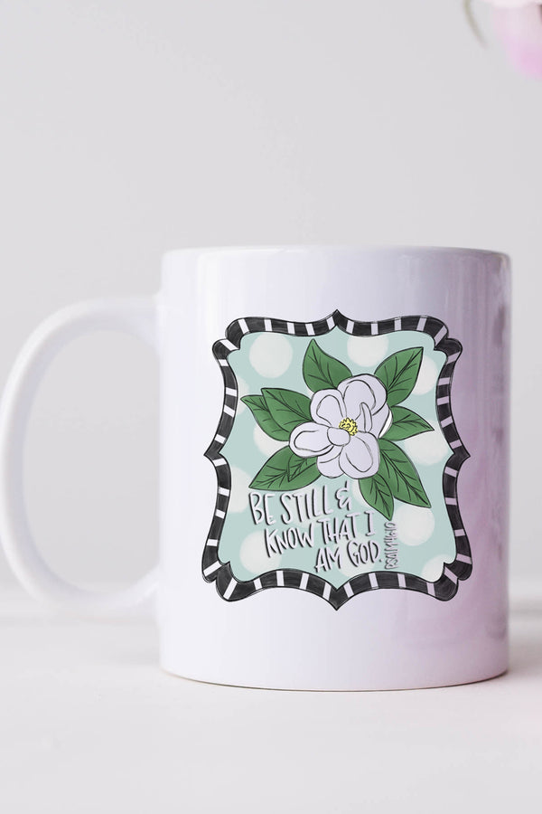 Magnolia Be Still And Know White Mug