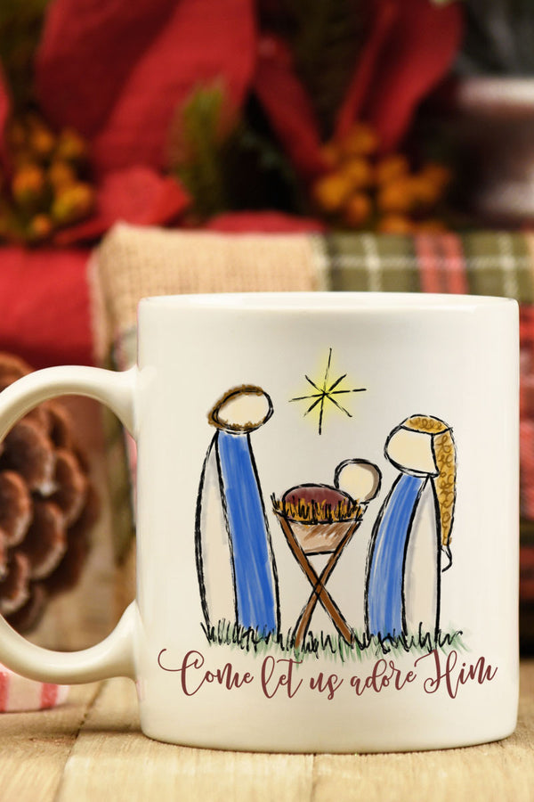 Come Let Us Adore Nativity White Mug