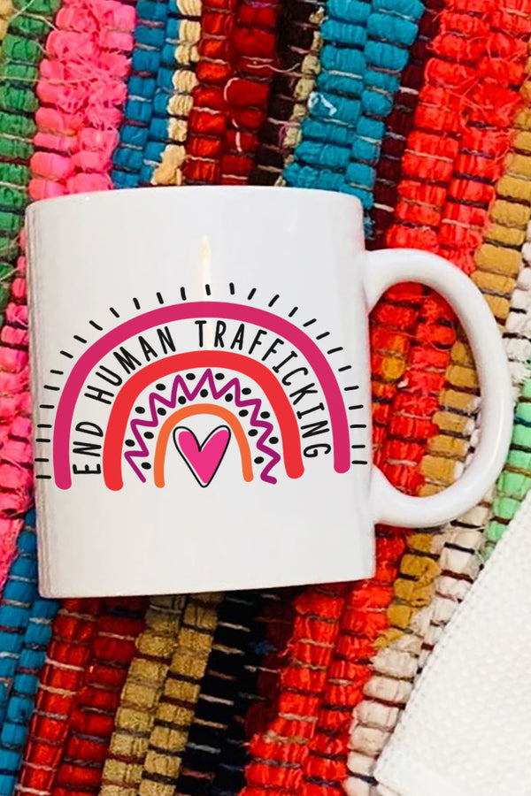 End Human Trafficking Rainbow White Mug