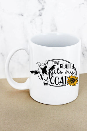 Gets My Goat White Mug