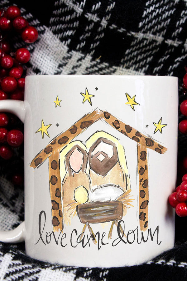Love Came Down Manger White Mug