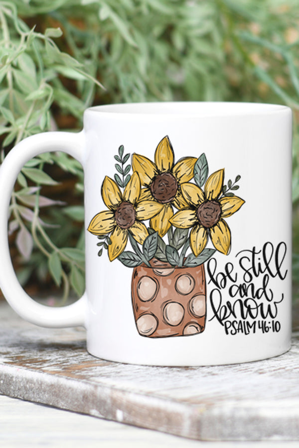 Sunflower Be Still And Know White Mug