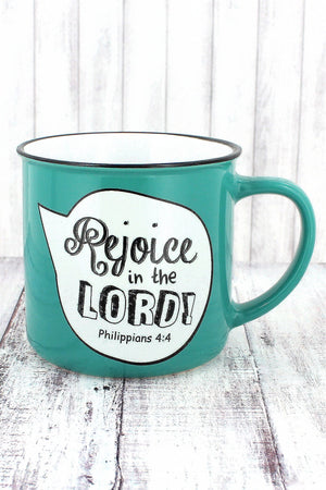 Philippians 4:4 'Rejoice in the Lord' Scripture Bubble Campfire Mug #MUG430