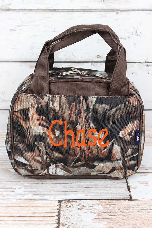 Natural Camo Insulated Bowler Style Lunch Bag with Brown Trim