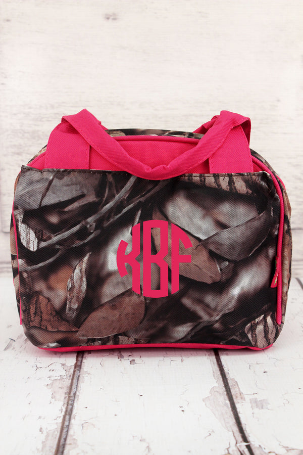 BNB Natural Camo Insulated Bowler Style Lunch Bag with Hot Pink Trim #N255-HPINK
