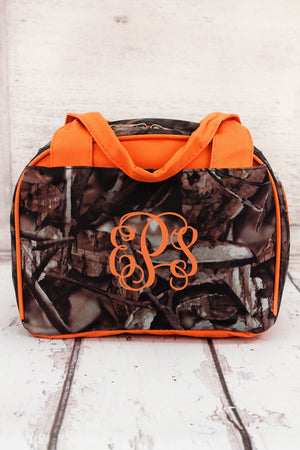 BNB Natural Camo Insulated Bowler Style Lunch Bag with Orange Trim #N255-ORANGE
