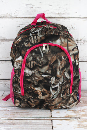 BNB Natural Camo Large Backpack with Hot Pink Trim