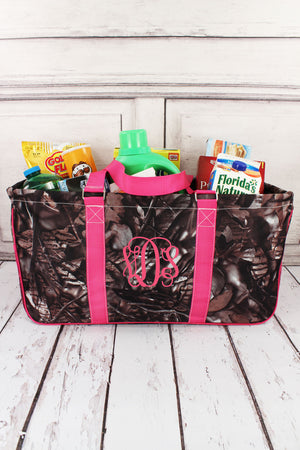 BNB Natural Camo with Hot Pink Trim Collapsible Haul-It-All Basket with Mesh Pockets