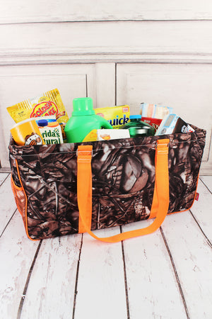 BNB Natural Camo with Orange Trim Collapsible Haul-It-All Basket with Mesh Pockets