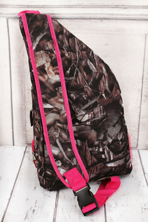 BNB Natural Camo Sling Backpack with Hot Pink Trim #N736-HPINK