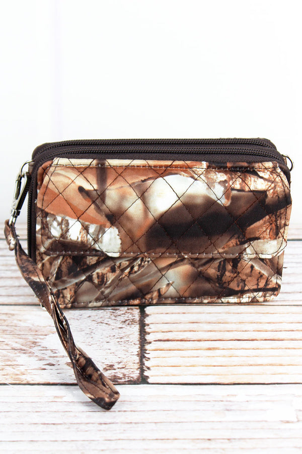 BNB Natural Camo Quilted Crossbody Organizer Clutch with Brown Trim