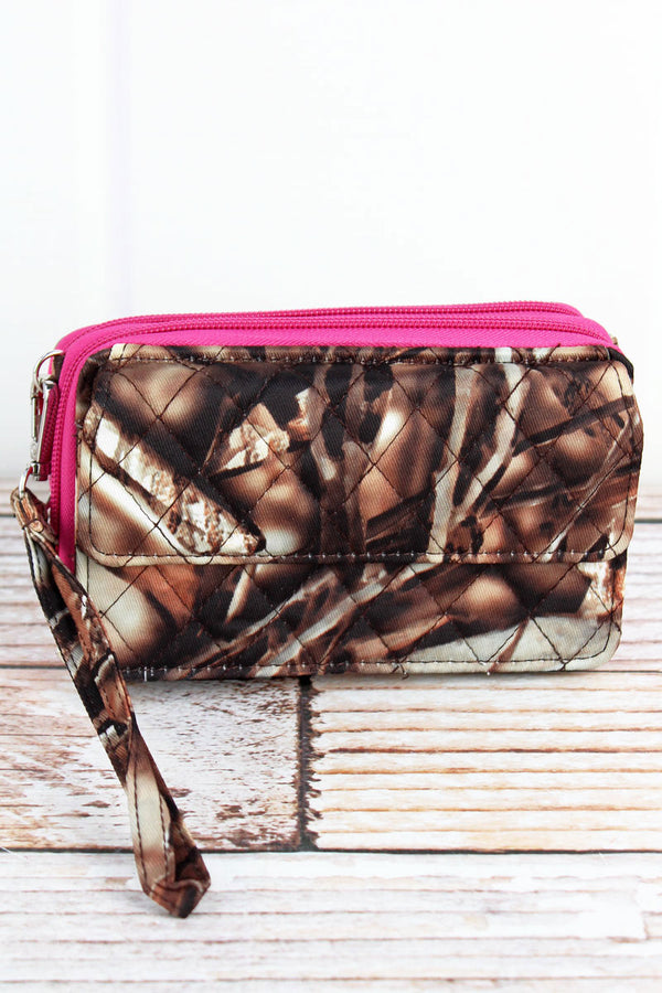 BNB Natural Camo Quilted Crossbody Organizer Clutch with Hot Pink Trim