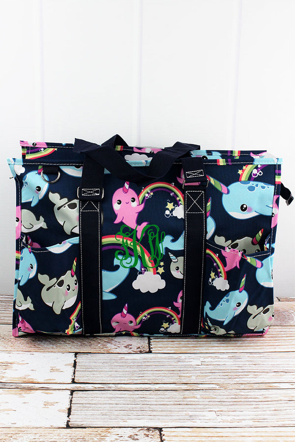 Narwhal Whimsy with Navy Trim Large Organizer Tote