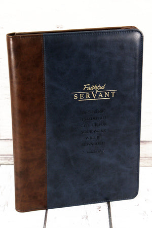 2 Chronicles 15:7 'Faithful Servant' LuxLeather Legal Size Zippered Portfolio #NBC016