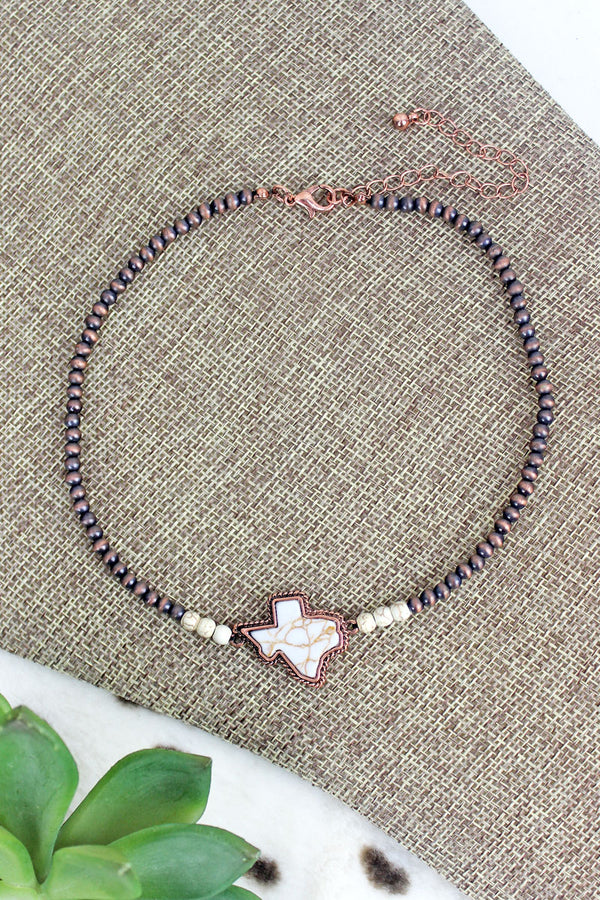 Natural Stone Texas Copper Petite Pearl Choker