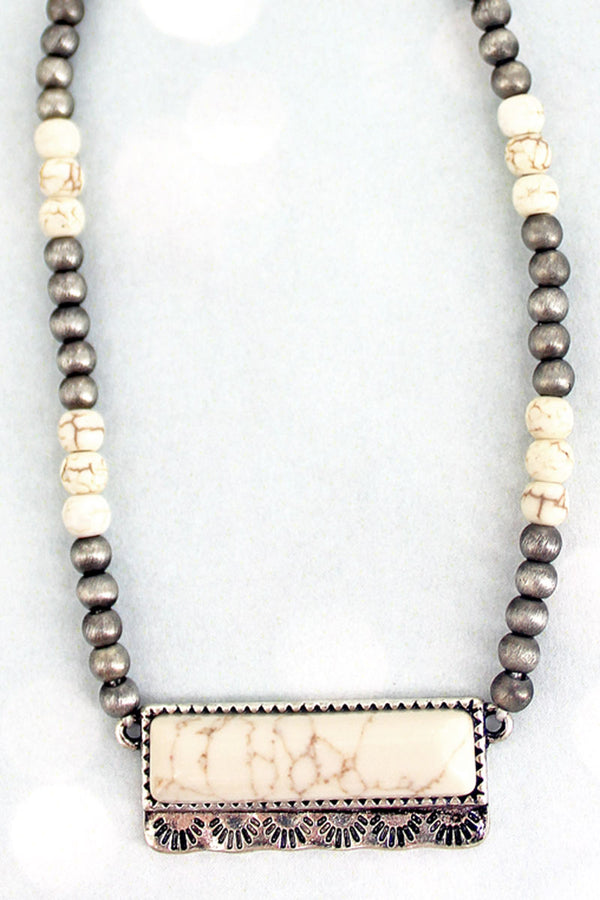 Baradero Natural Bead and Silver Petite Pearl Choker