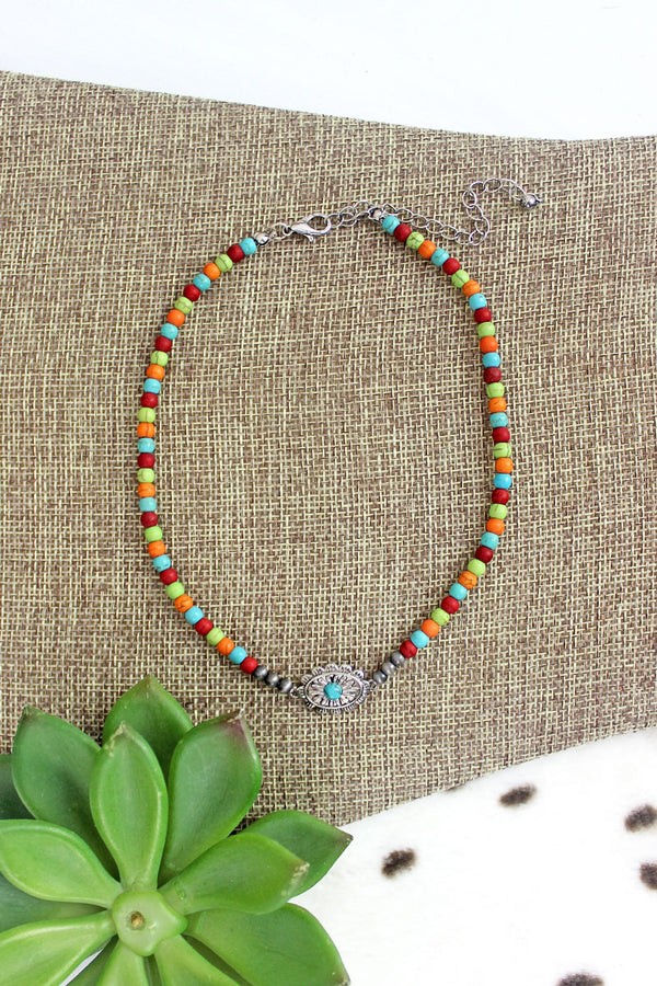 Silvertone Carlisle Concho Multi-Color Beaded Choker