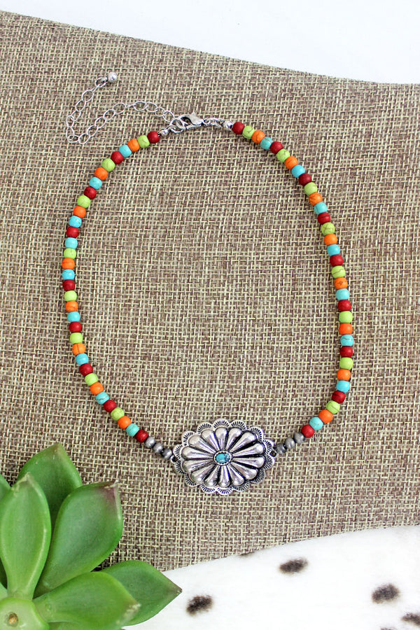 Silvertone Casper Concho Multi-Color Beaded Choker