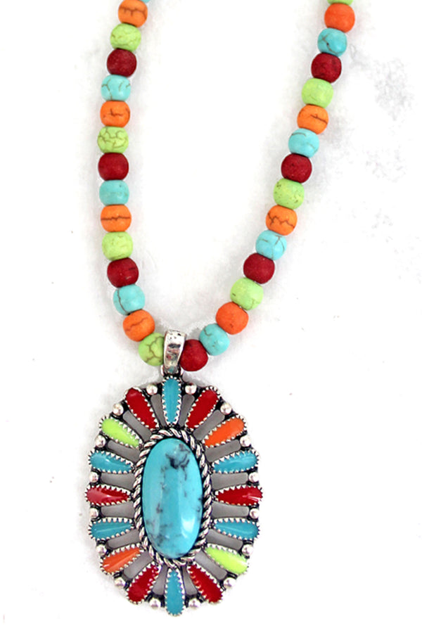 Multi-Color Concho Springs Beaded Choker