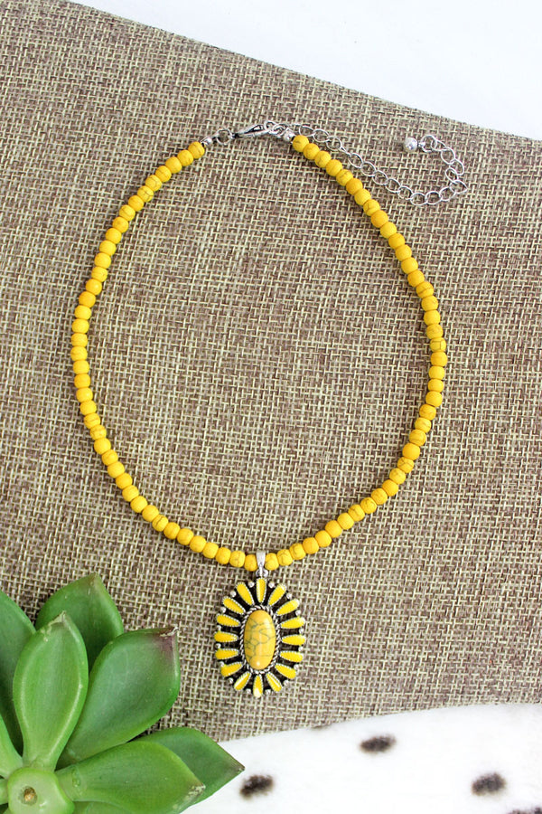 Mustard Concho Springs Beaded Choker