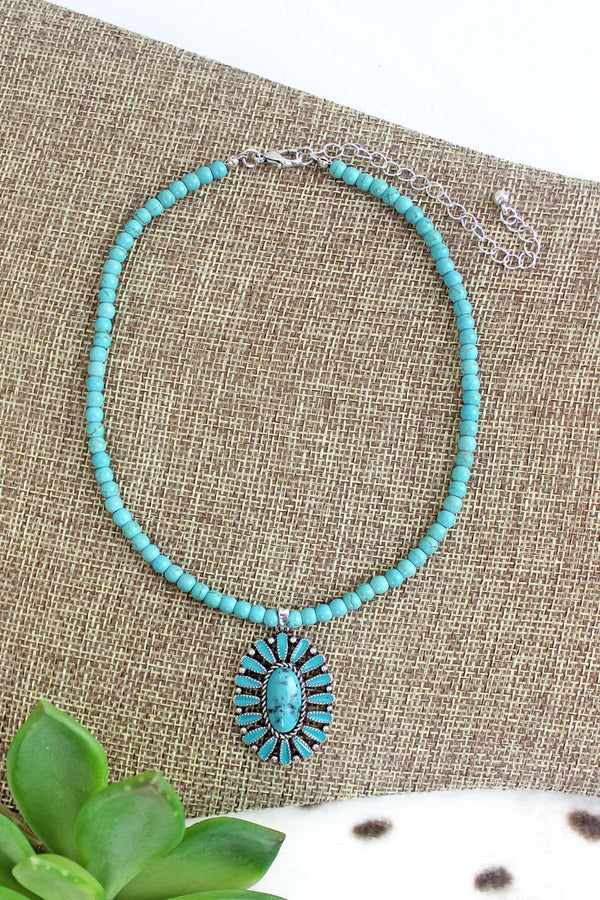 Turquoise Concho Springs Beaded Choker