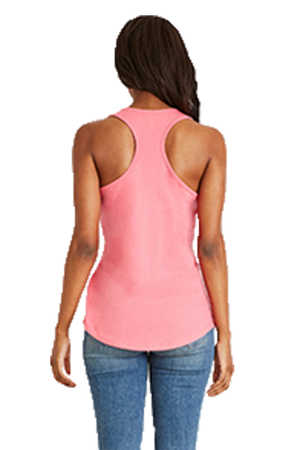 Next Level Ladies' Colorblock Racerback Tank, White/Hot Pink *Personalize It!
