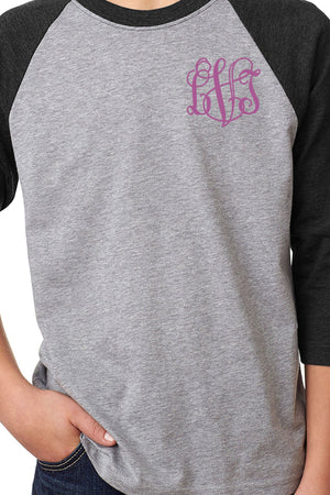 Next Level Youth 3/4 Sleeve Raglan, Black/Dark Gray Heather *Personalize It